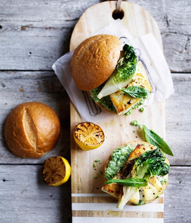 """[Fish burger with minty pea mayo and charred lettuce](https://www.gourmettraveller.com.au/recipes/browse-all/fish-burger-with-minty-pea-mayo-and-charred-lettuce-12688 target=""""_blank"""")"""