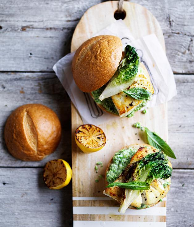 "[**Fish burger with minty pea mayo and charred lettuce**](https://www.gourmettraveller.com.au/recipes/browse-all/fish-burger-with-minty-pea-mayo-and-charred-lettuce-12688|target=""_blank"")"
