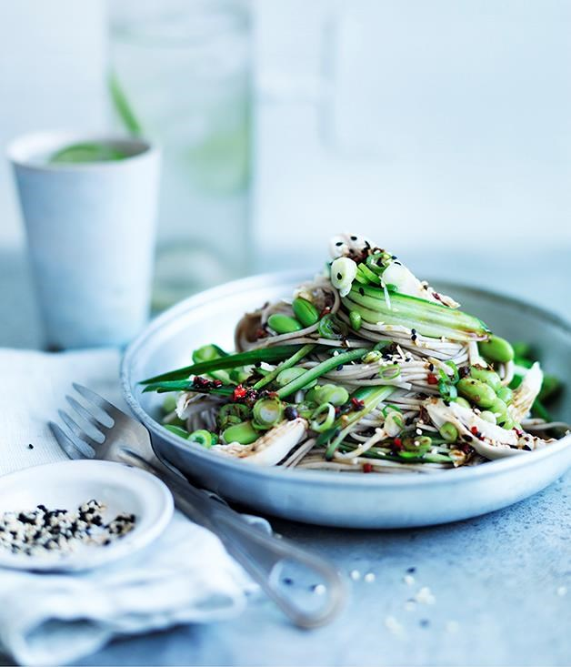 "**[Sichuan chicken salad with chilled noodles and cucumber](https://www.gourmettraveller.com.au/recipes/fast-recipes/sichuan-chicken-salad-with-chilled-noodles-and-cucumber-13775|target=""_blank"")**"