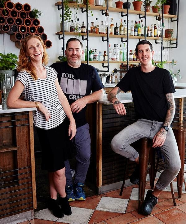 From left: co-owners Naomi Hart and Gregory Llewellyn with head chef Jarrod Walsh.