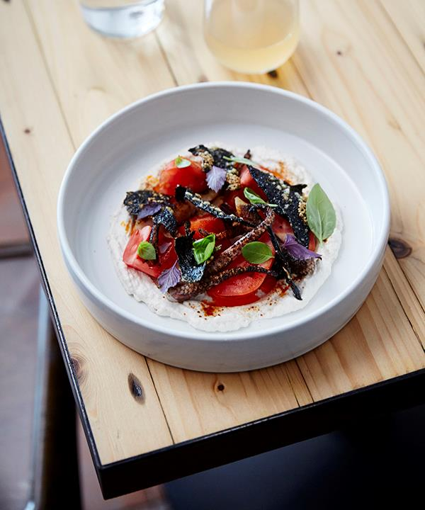 Tomato and barbecued calamari with whipped-sesame sauce
