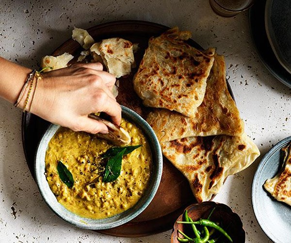 "**[Roti with chana dhal](https://www.gourmettraveller.com.au/recipes/browse-all/roti-with-chana-dhal-12301|target=""_blank"")**  Warm flaky roti dipped in yellow split peas is the ultimate in Indian comfort food."