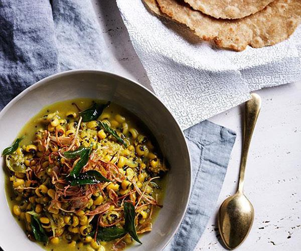 """**[Black-eyed pea curry with crisp shallots and curry leaves](https://www.gourmettraveller.com.au/recipes/browse-all/black-eyed-pea-curry-with-crisp-shallots-and-curry-leaves-11986