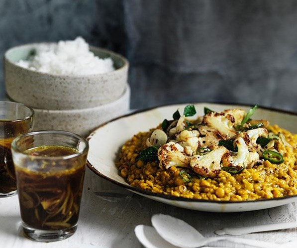 "**[Dhal with crisp cauliflower and rasam](https://www.gourmettraveller.com.au/recipes/browse-all/dhal-with-crisp-cauliflower-and-rasam-11753|target=""_blank"")**  The heat from mustard seeds and peppercorns gives this south Indian staple its signature sour and fragrant flavour. Add in crisp cauliflower and steamed rice for a wholesome meal."