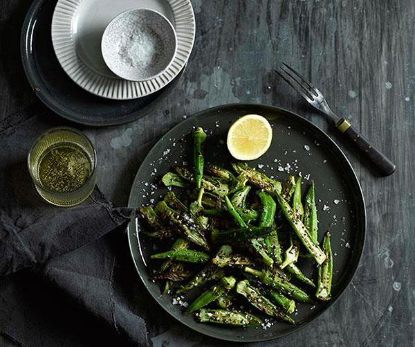 """**[Okra with panch phora and lemon](https://www.gourmettraveller.com.au/recipes/fast-recipes/okra-with-panch-phora-and-lemon-13366