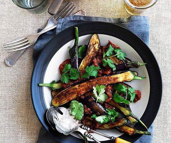 """**[Eggplant pachadi](https://www.gourmettraveller.com.au/recipes/chefs-recipes/eggplant-pachadi-8974