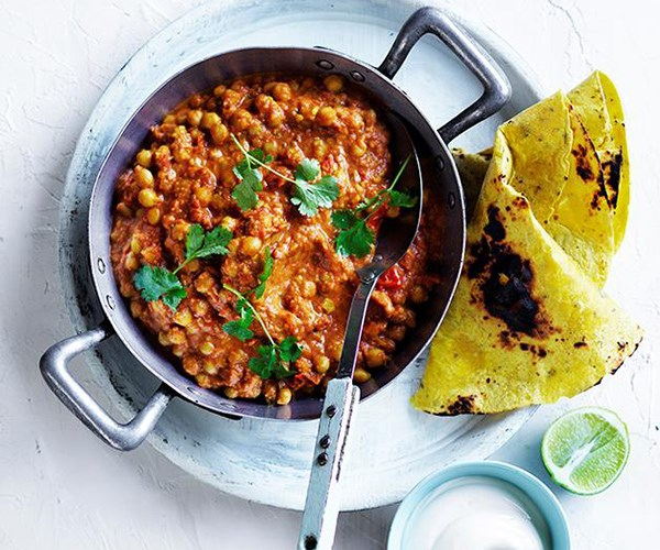 "**[Chana masala with yoghurt and flatbread](https://www.gourmettraveller.com.au/recipes/fast-recipes/chana-masala-with-yoghurt-and-flatbread-13771|target=""_blank"")**  Need a curry in a hurry? This tomato-based chickpea curry delivers all the richness of a slowly simmered dish in less than 30 minutes."