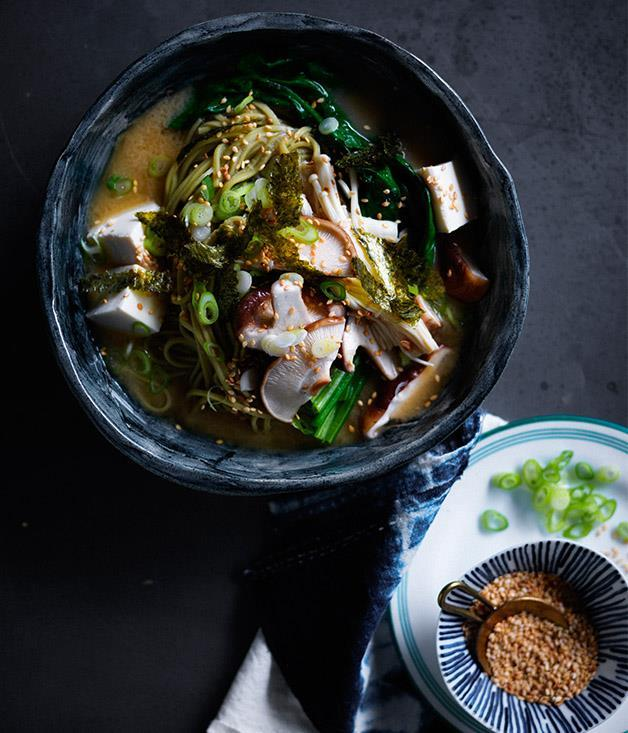 """**[Miso noodle soup with mushrooms and ginger](https://www.gourmettraveller.com.au/recipes/fast-recipes/miso-noodle-soup-with-mushrooms-and-ginger-13817