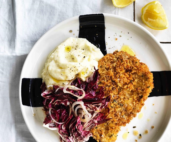 "**[Pork schnitzel with parsnip mash](https://www.gourmettraveller.com.au/recipes/fast-recipes/pork-schnitzel-with-parsnip-mash-13844|target=""_blank"")**"