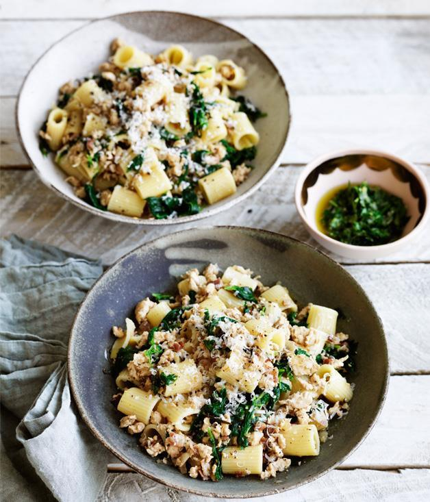"""**[Rigatoni with chicken ragù and green sauce](https://www.gourmettraveller.com.au/recipes/fast-recipes/rigatoni-with-chicken-ragu-and-green-sauce-13811