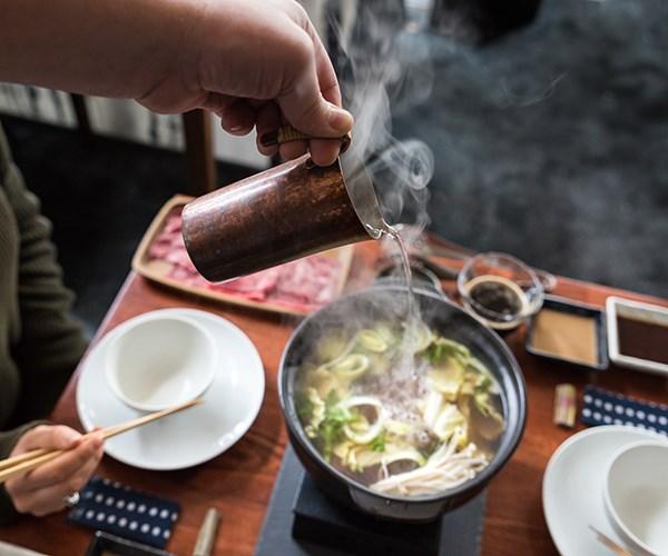 Wagyu shabu-shabu being made.