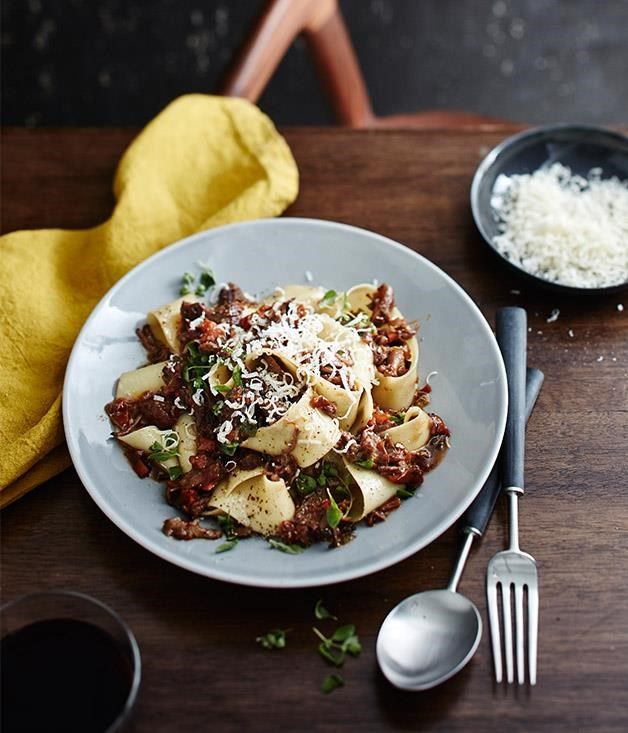 "**[Massi's pappardelle with osso buco ragù](https://www.gourmettraveller.com.au/recipes/chefs-recipes/massis-pappardelle-with-osso-buco-ragu-9306|target=""_blank"")**"