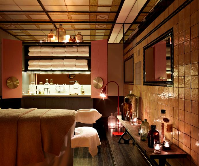 A private treatment room at the retro-styled spa