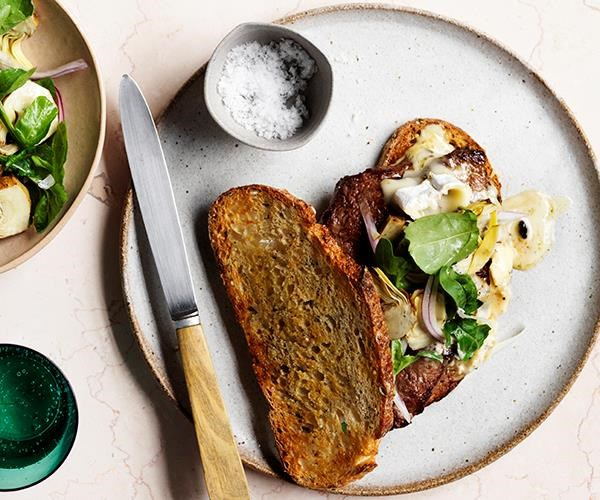 "[Steak sandwich](https://www.gourmettraveller.com.au/recipes/fast-recipes/steak-sandwich-15734|target=""_blank"")  Make the most of truffle season with this warm steak sandwich that's topped with oozy truffled brie."