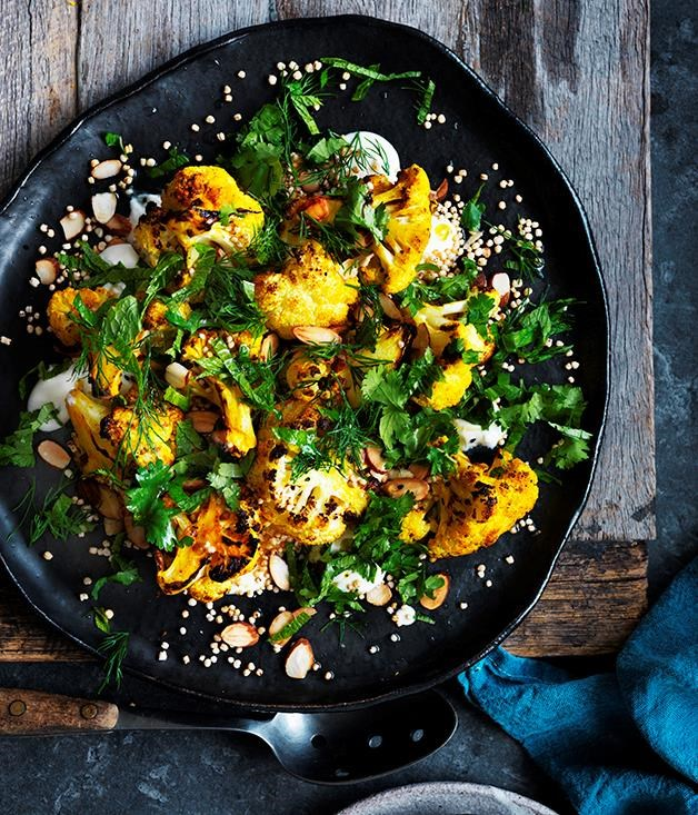 "[Roasted cauliflower salad with yogurt dressing and almonds](https://www.gourmettraveller.com.au/recipes/browse-all/roasted-cauliflower-salad-with-yoghurt-dressing-and-almonds-12690|target=""_blank"")  Beat the winter chills with this roasted cauliflower salad that looks like summer on a plate."
