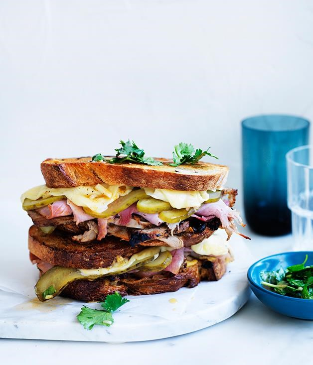 "[Cuban mojo grilled pork sandwiches](https://www.gourmettraveller.com.au/recipes/fast-recipes/cuban-mojo-grilled-pork-sandwiches-13797|target=""_blank"")  Ham, pork shoulder, mustard, cheese and pickles – this is quite possibly the king of loaded sandwiches."