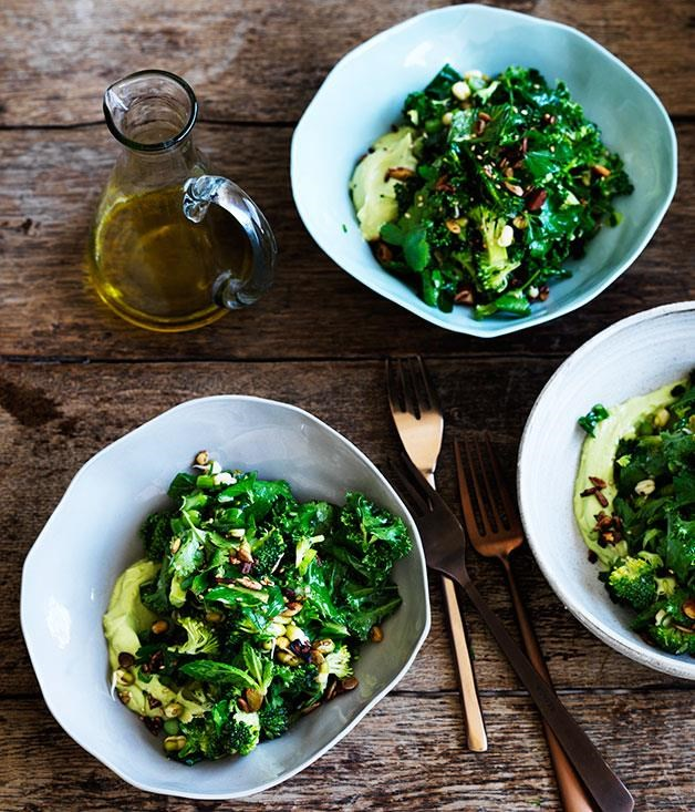 "[Ultra-green chopped salad](https://www.gourmettraveller.com.au/recipes/fast-recipes/ultra-green-chopped-salad-13666|target=""_blank"")  Get in a week's worth of greens with this emerald salad. Along with broccolini, kale and sprouts, it's bursting with the fresh flavours of lemon, buttermilk and fresh parsley."