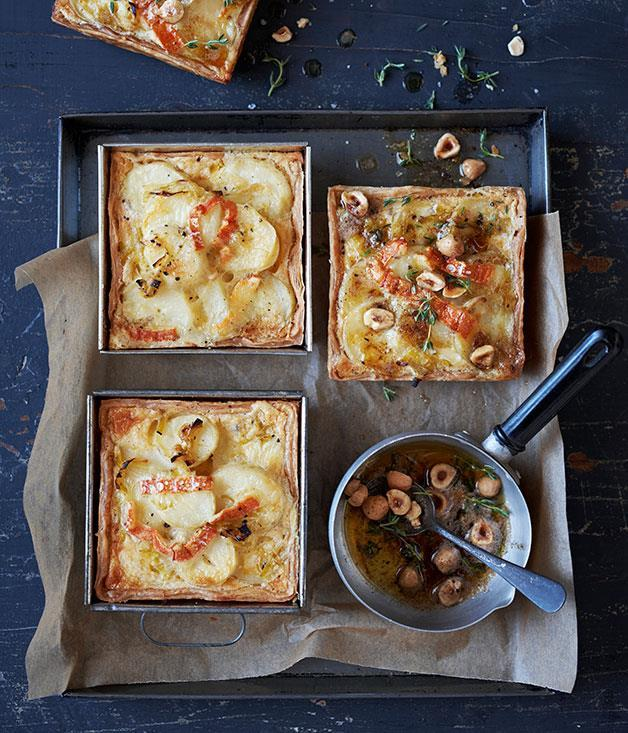 """[Potato, leek and thyme tartlets](https://www.gourmettraveller.com.au/recipes/browse-all/potato-leek-and-thyme-tartlets-11968