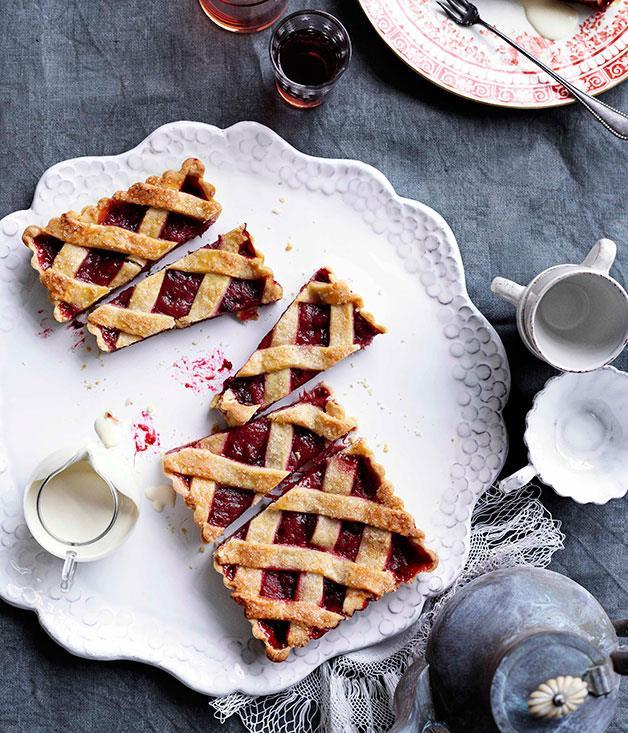 """[Rhubarb and raspberry crostata](https://www.gourmettraveller.com.au/recipes/browse-all/rhubarb-and-raspberry-crostata-10789