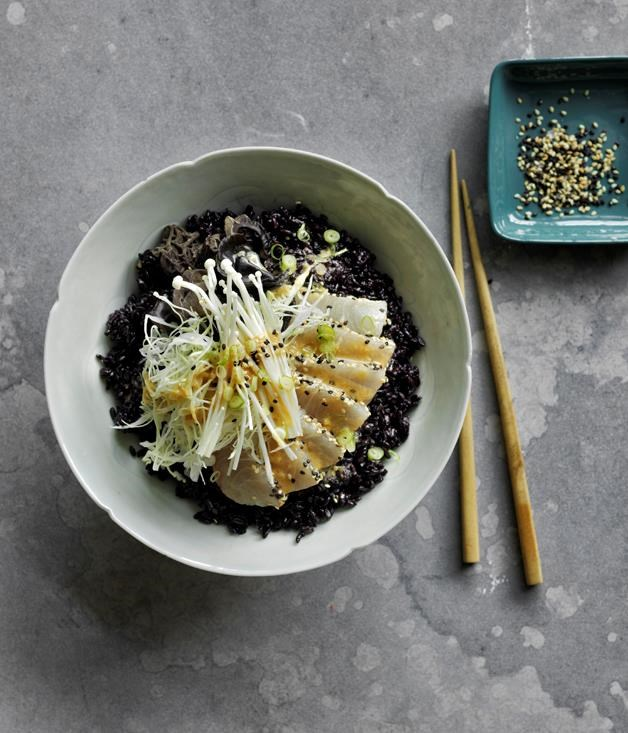 "[Black and white kingfish bowl](https://www.gourmettraveller.com.au/recipes/browse-all/black-and-white-kingfish-bowl-12862|target=""_blank"")   It's all about contrasts in this recipe, from nutty black rice and crunchy veg to tender white fish. A rich miso dressing is the finishing touch."