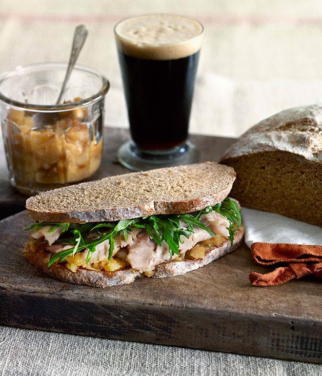 [Roast pork and crushed apple sandwich on stout loaf](https://www.gourmettraveller.com.au/recipes/browse-all/roast-pork-and-crushed-apple-sandwich-on-stout-loaf-14279) <br> Roast pork and tender apples sandwiched between slices of stout and oat bread - this recipe is nothing if not hearty. Double the comfort by adding a glass of stout on the side.