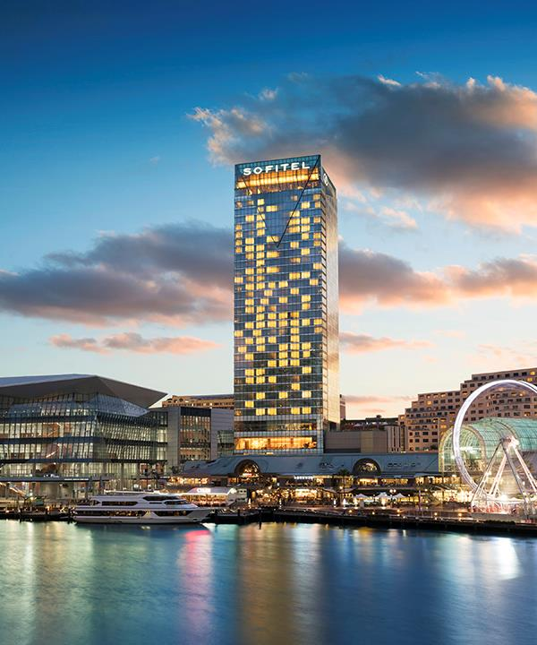 Sofitel Darling Harbour boasts views of the city skyline and harbour.