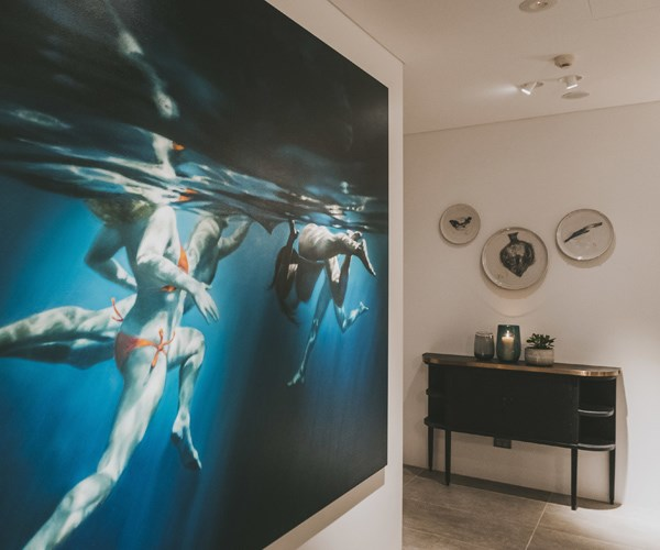 Artwork by Martine Emdur is displayed throughout the hotel
