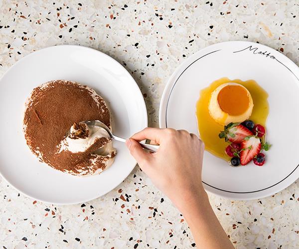 Tiramisù and crème caramel