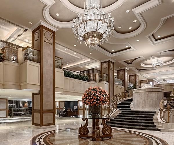 The marble-clad lobby