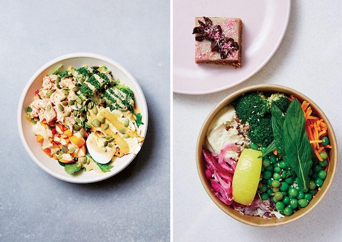 SumoSalad Commando Bowl, YO! Sushi, Lorna Jane vegan rainbow bowl and Neapolitan raw slice.