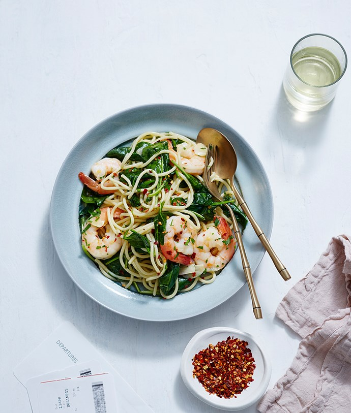 Prawn pasta from The Bistro by Wolfgang Puck.
