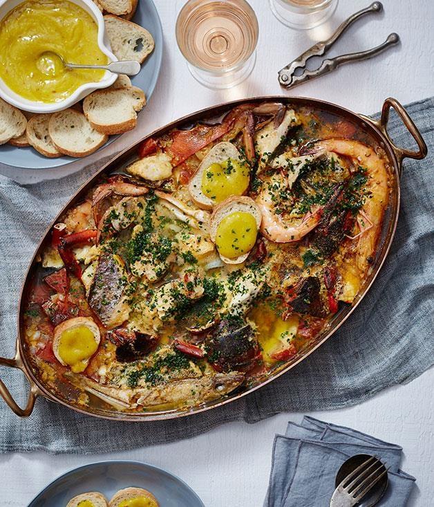 "[Damien Pignolet's bouillabaise](https://www.gourmettraveller.com.au/recipes/browse-all/bouillabaisse-14238|target=""_blank"")"