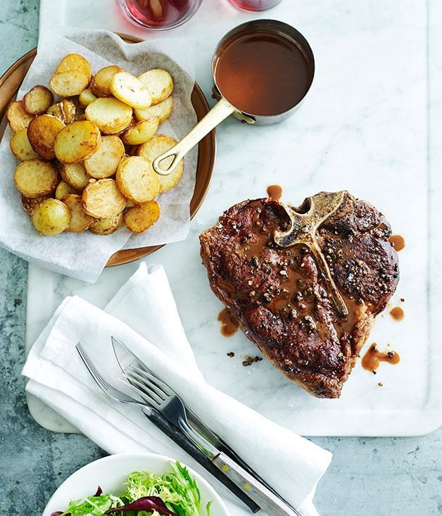 **[Grilled pepper steak with fried garlic potatoes](https://www.gourmettraveller.com.au/recipes/fast-recipes/grilled-pepper-steak-with-fried-garlic-potatoes-13524)**