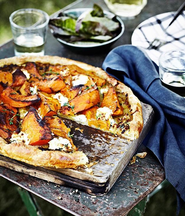 "[Pumpkin, goat's curd and thyme tart](https://www.gourmettraveller.com.au/recipes/browse-all/pumpkin-goats-curd-and-thyme-tart-11406|target=""_blank"")"