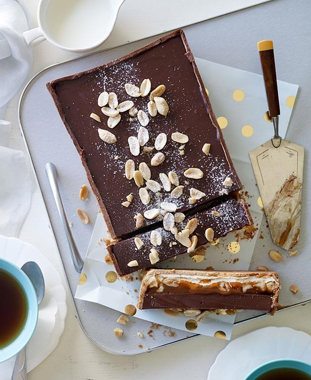 "[Nougat, salted peanut caramel and milk chocolate tart](https://www.gourmettraveller.com.au/recipes/browse-all/nougat-salted-peanut-caramel-and-milk-chocolate-tart-11939|target=""_blank"")"
