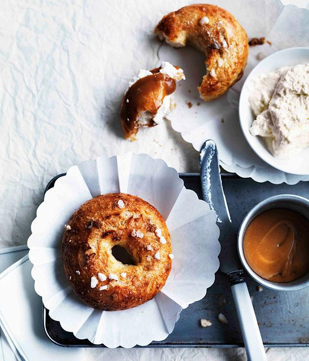 "[Salty-sweet bagels with ricotta and caramel sauce](https://www.gourmettraveller.com.au/recipes/browse-all/salty-sweet-bagels-with-ricotta-and-caramel-sauce-11291|target=""_blank"")"