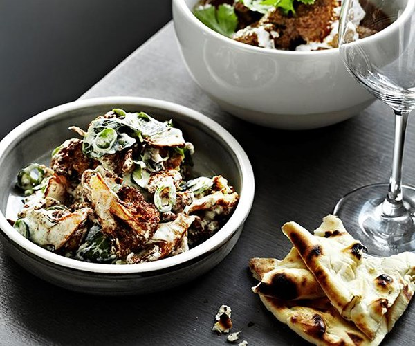 "**[Warm cauliflower salad with yoghurt, mint and green chilli](https://www.gourmettraveller.com.au/recipes/chefs-recipes/warm-cauliflower-salad-with-yoghurt-mint-and-green-chilli-7907|target=""_blank"")**  A modern makeover from the team at Melbourne's Tonka Restaurant has elevated the rustic aloo ghobi to an edgy side dish consisting of crisp florets of cauliflower in an tangy yoghurt sauce."