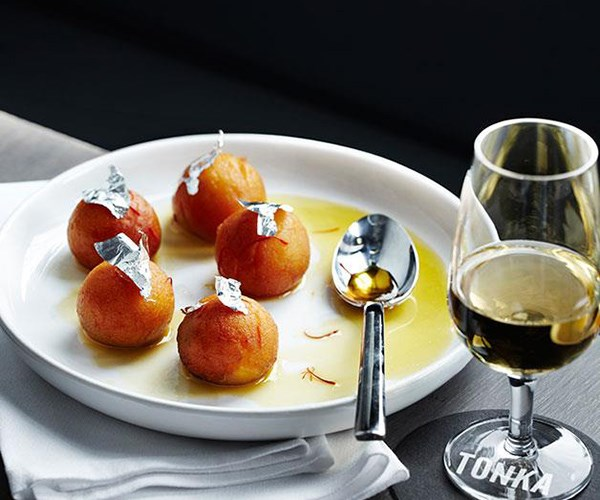 "**[Gulab jamun](https://www.gourmettraveller.com.au/recipes/chefs-recipes/gulab-jamun-7911|target=""_blank"")**  Golden semolina dumplings bathed in saffron syrup – there's no question as to whether gulab jamun is the queen of Indian desserts."