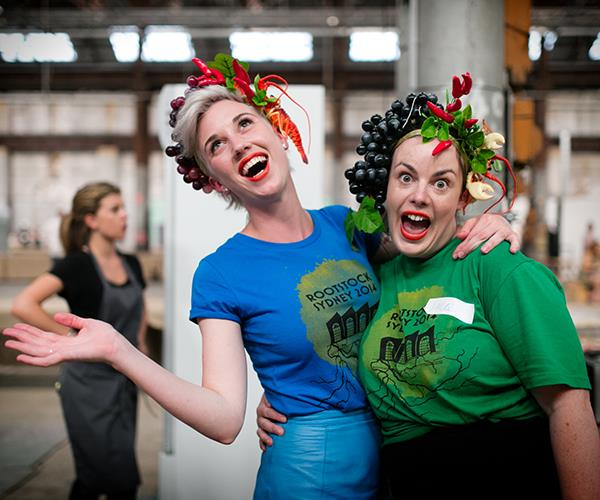 Sommeliers Jacq Turner and Meg Power with Lobby the Lobster hats at Rootstock 2014.
