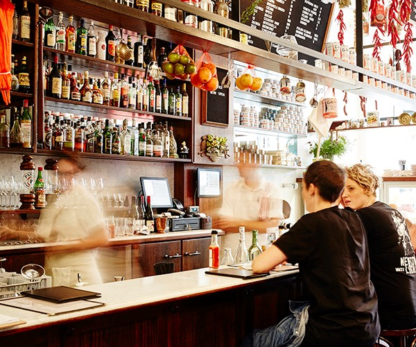 The bar at Continental Deli