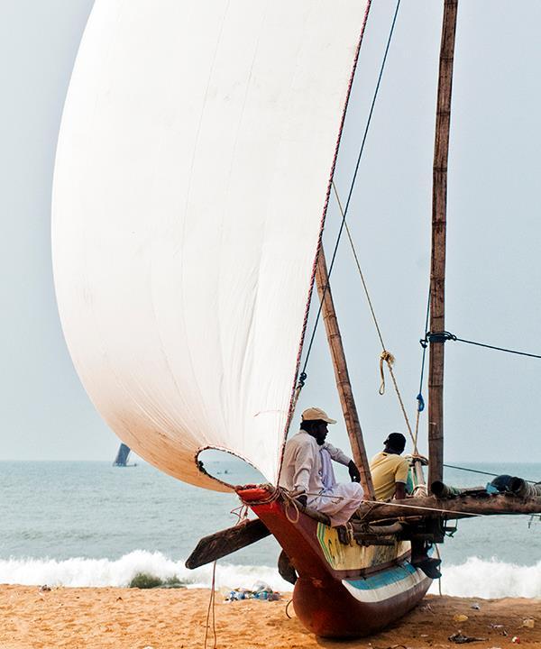 Fishermen on the beach in Negombo