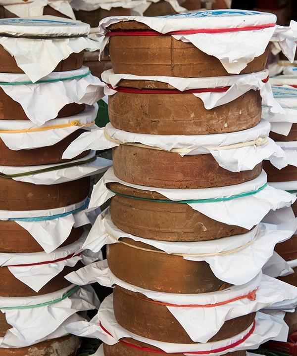 Clay pots of buffalo curd