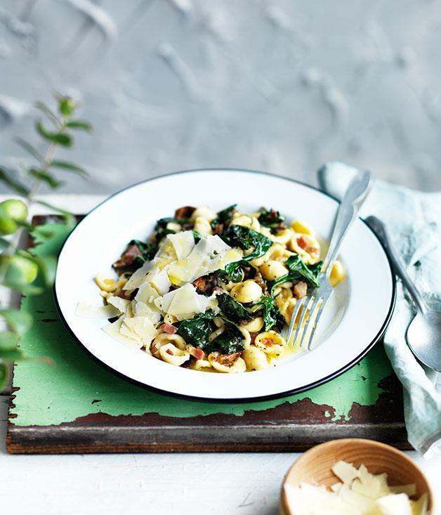 "[**Orecchiette with cavolo nero and porcini**](https://www.gourmettraveller.com.au/recipes/fast-recipes/orecchiette-with-cavolo-nero-and-porcini-13611|target=""_blank"")"