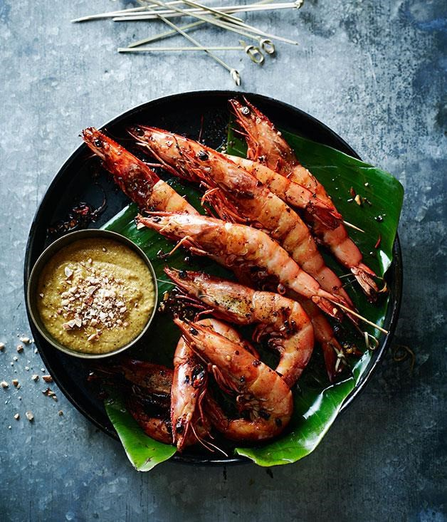 "**[Prawn satay](https://www.gourmettraveller.com.au/recipes/chefs-recipes/prawn-satay-8201|target=""_blank"")**"