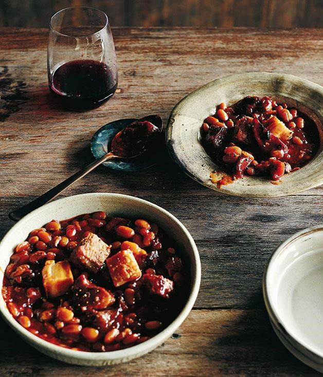 "**[Barbecue pit beans](https://www.gourmettraveller.com.au/recipes/chefs-recipes/barbecue-pit-beans-8293|target=""_blank"")**"
