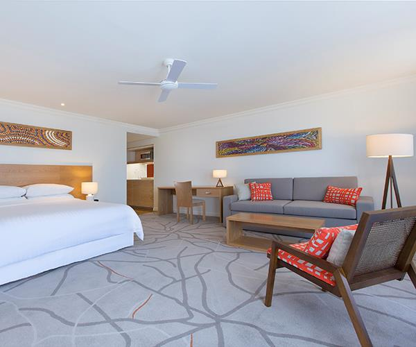 One of the spacious guest rooms at Sofitel Noosa