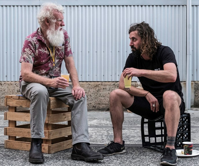 Bruce Pascoe, author of *Dark Emu*, drinking Two Metre Tall beer with chef Dave Moyle. This photo represents what Rootstock achieved in bringing people like this together to collaborate into the future.