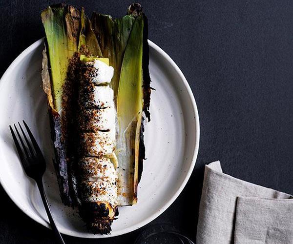 "Lindsay's [burnt leeks with sesame seed sauce](https://www.gourmettraveller.com.au/recipes/chefs-recipes/burnt-leeks-with-sesame-seed-sauce-8637|target=""_blank"")"