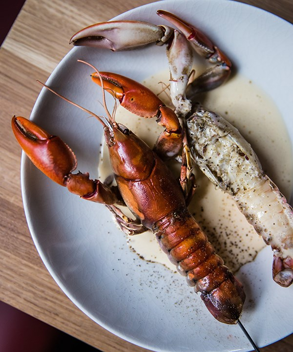 Yabby on a stick with smoked whey sauce