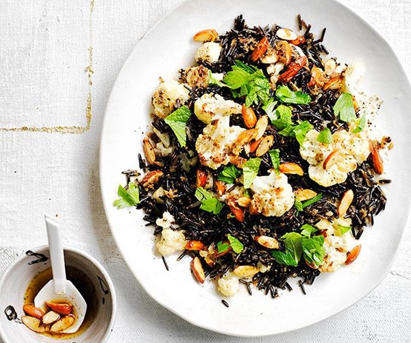 **[Wild rice pilaf with cauliflower, burnt butter and almonds](https://www.gourmettraveller.com.au/recipes/browse-all/wild-rice-pilaf-with-cauliflower-burnt-butter-and-almonds-12276)**